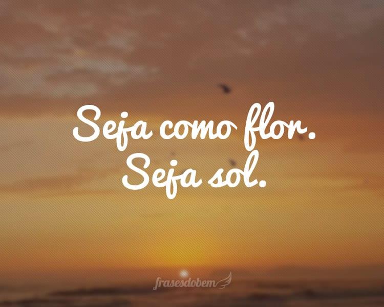 Seja como flor. Seja sol.