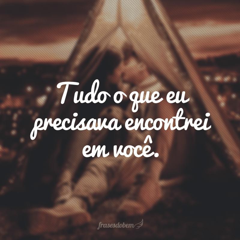 Tudo o que eu precisava encontrei em você.