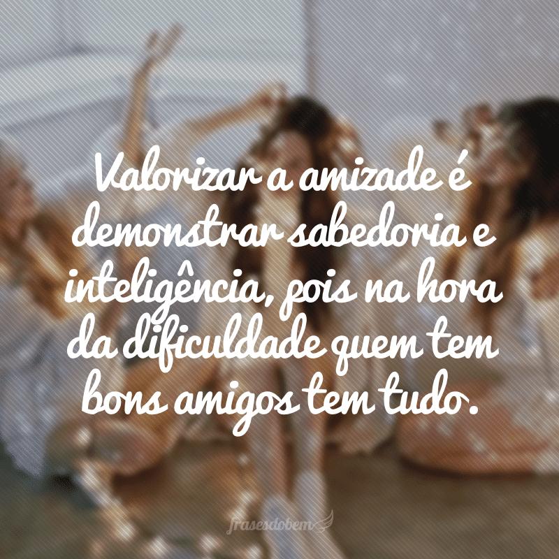 Valorizar a amizade é demonstrar sabedoria e inteligência, pois na hora da dificuldade quem tem bons amigos tem tudo.