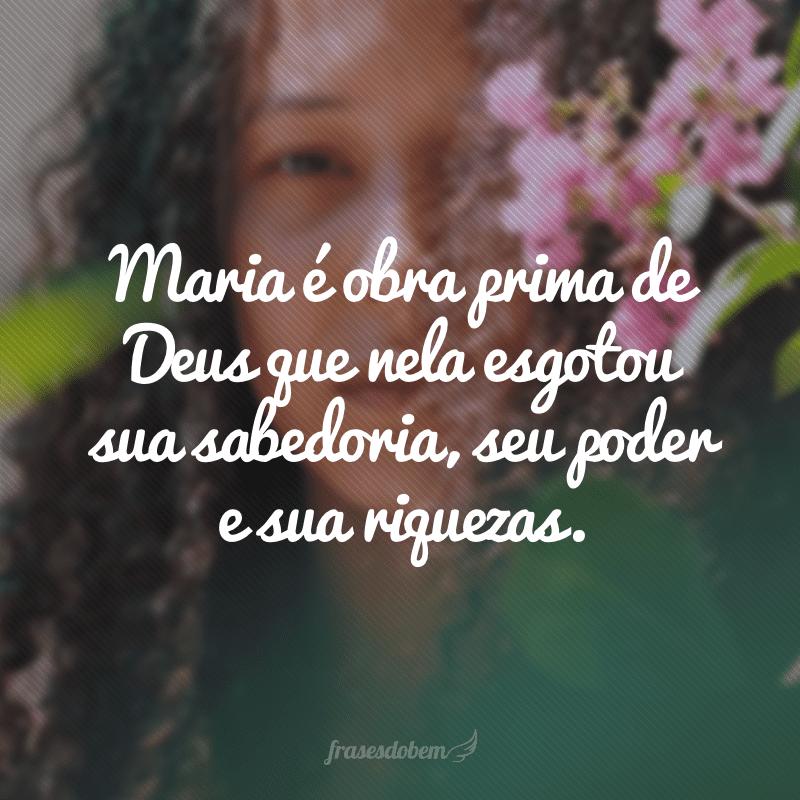 Maria é obra prima de Deus que nela esgotou sua sabedoria, seu poder e sua riquezas.