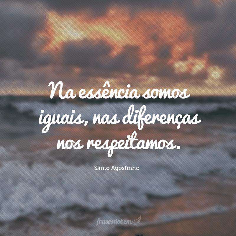 Na essência somos iguais, nas diferenças nos respeitamos.