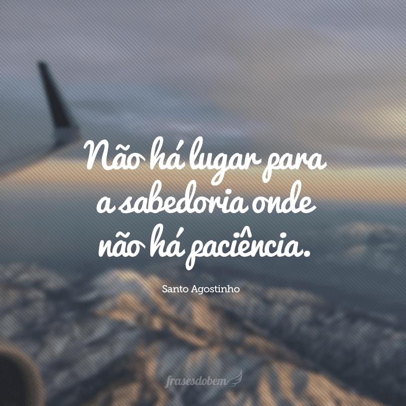 Não há lugar para a sabedoria onde não há paciência.