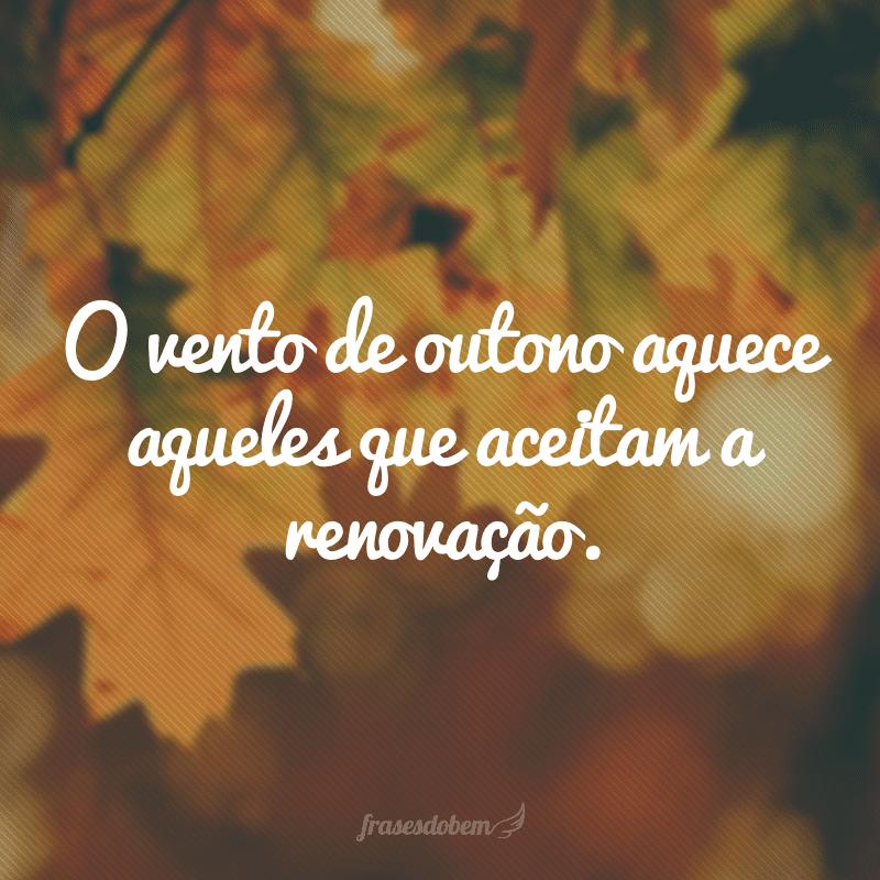 O vento de outono aquece aqueles que aceitam a renovação.