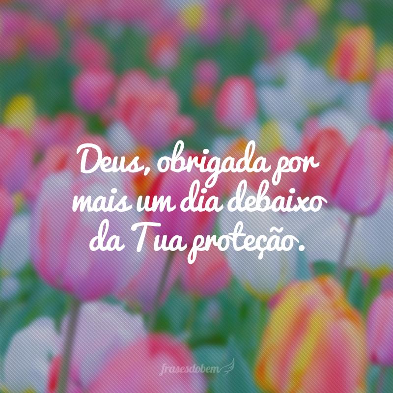 Deus, obrigada por mais um dia debaixo da Tua proteção.