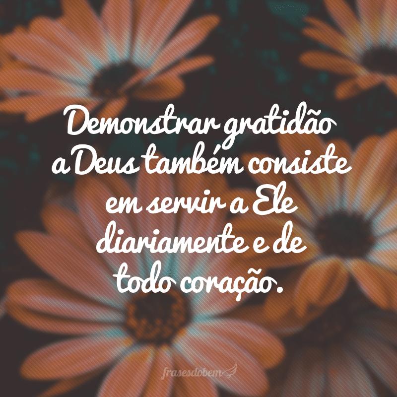 Demonstrar gratidão a Deus também consiste em servir a Ele diariamente e de todo coração.