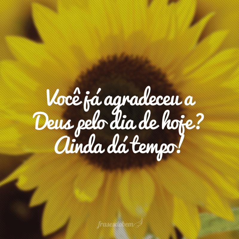 Você já agradeceu a Deus pelo dia de hoje? Ainda dá tempo!