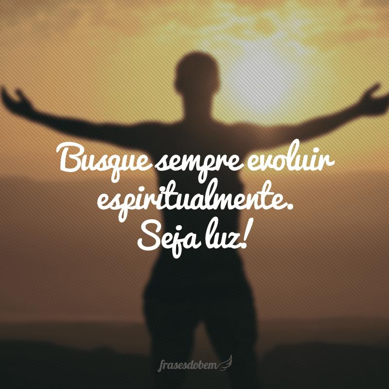 Busque sempre evoluir espiritualmente. Seja luz!