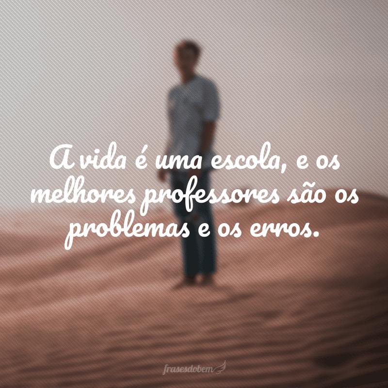 A vida é uma escola, e os melhores professores são os problemas e os erros.