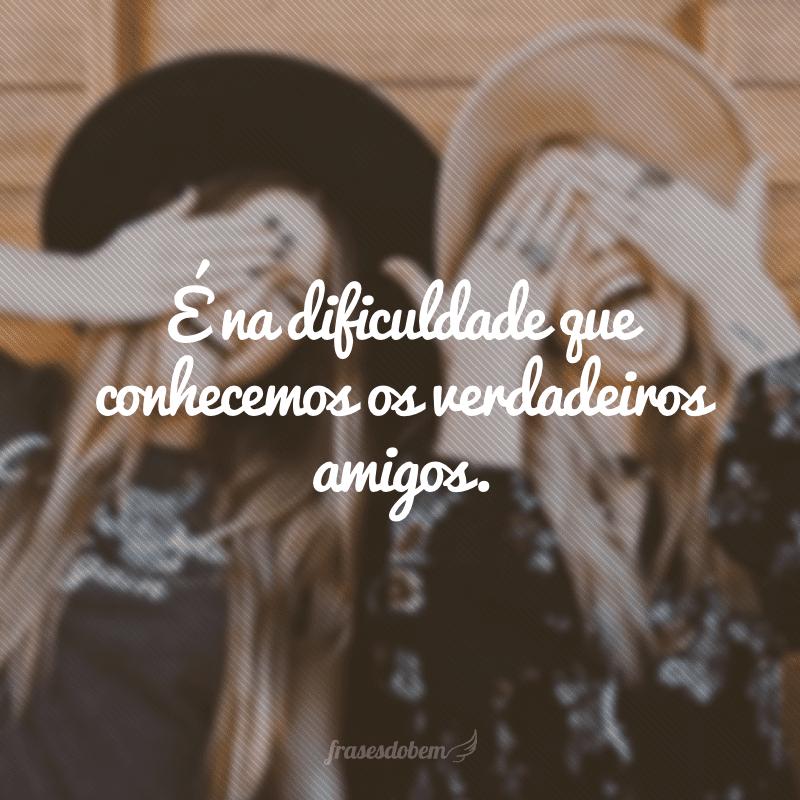 É na dificuldade que conhecemos os verdadeiros amigos.