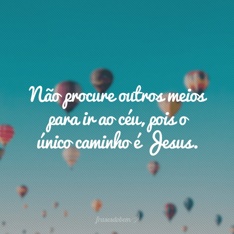 Não procure outros meios para ir ao céu, pois o único caminho é Jesus.