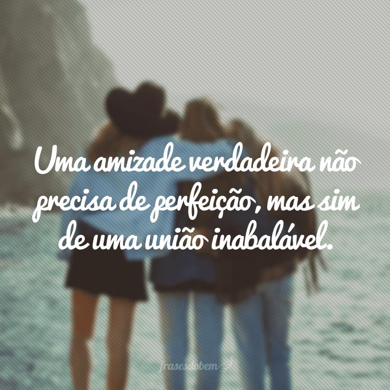 Uma amizade verdadeira não precisa de perfeição, mas sim de uma união inabalável.