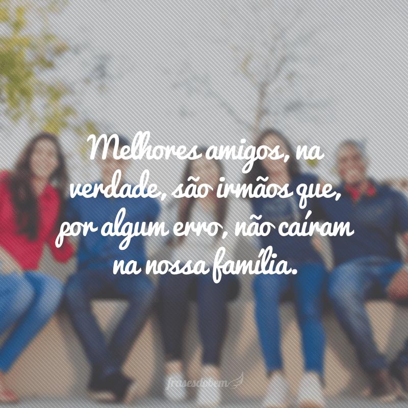Melhores amigos, na verdade, são irmãos que, por algum erro, não caíram na nossa família.