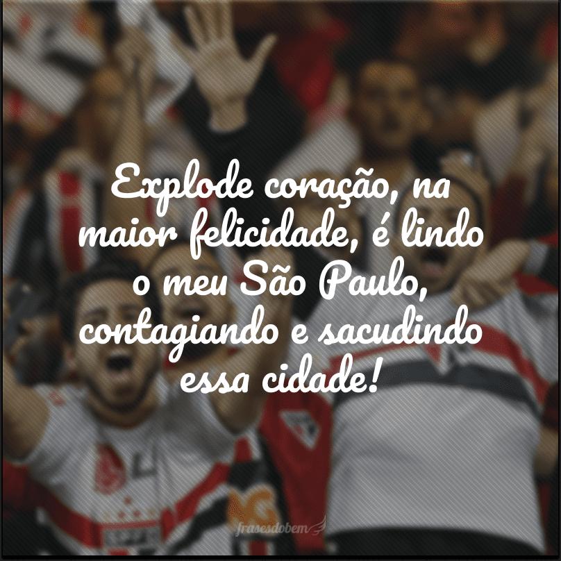 Explode coração, na maior felicidade, é lindo o meu São Paulo, contagiando e sacudindo essa cidade!