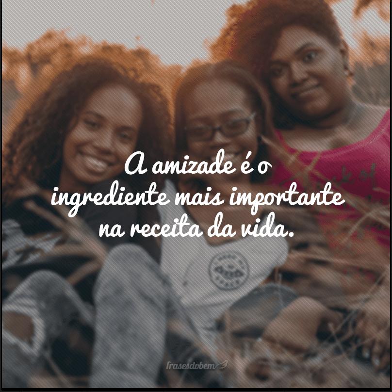 A amizade é o ingrediente mais importante na receita da vida.