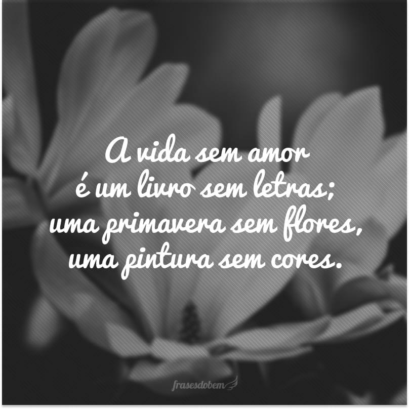A vida sem amor é um livro sem letras; uma primavera sem flores, uma pintura sem cores.