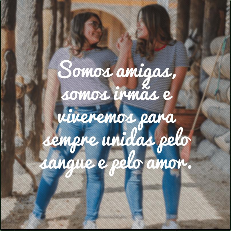 Somos amigas, somos irmãs e viveremos para sempre unidas pelo sangue e pelo amor.