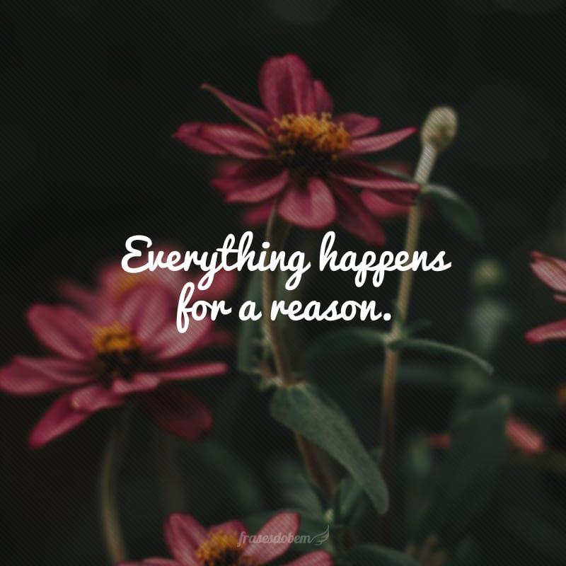 Everything happens for a reason. (Tudo acontece por uma razão.)