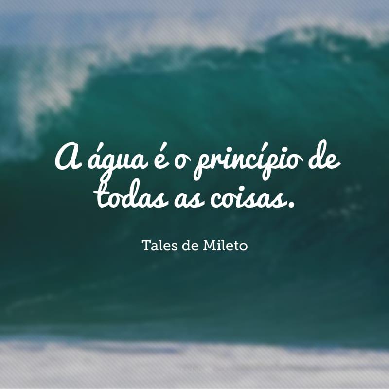 A água é o princípio de todas as coisas.
