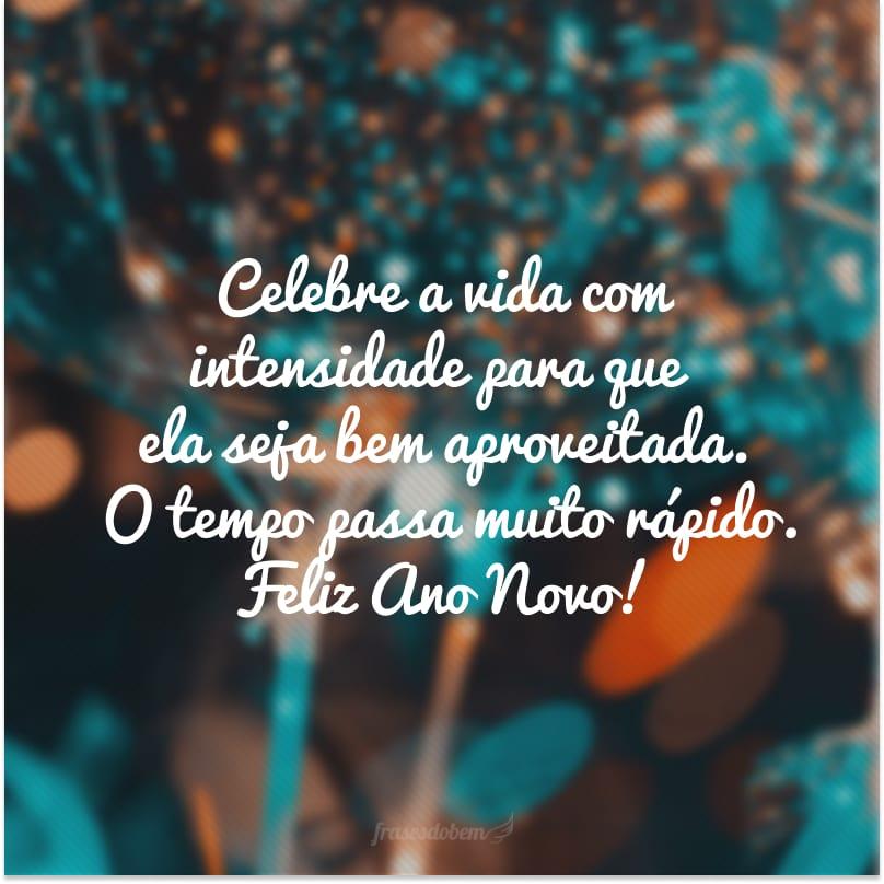 Celebre a vida com intensidade para que ela seja bem aproveitada. O tempo passa muito rápido. Feliz Ano Novo!