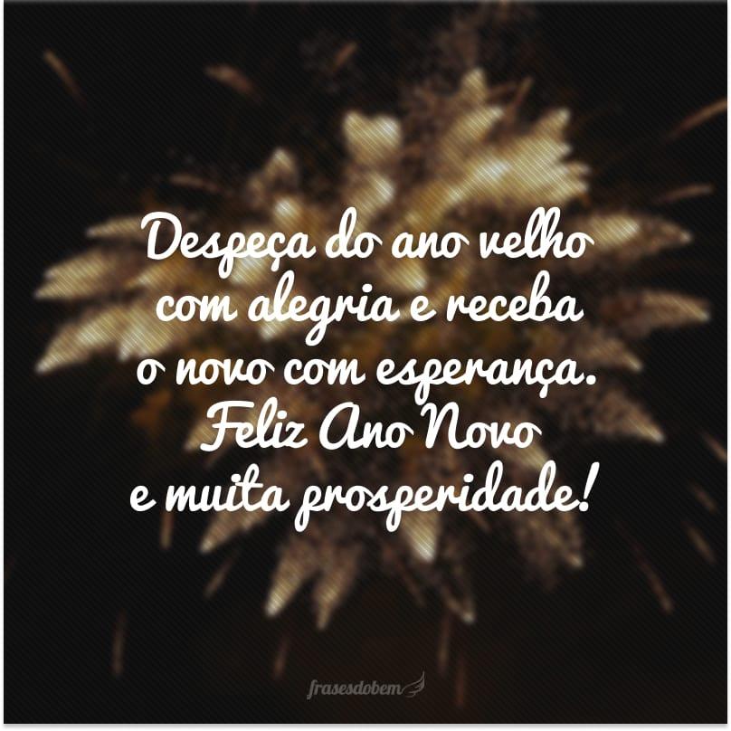 Despeça do ano velho com alegria e receba o novo com esperança. Feliz Ano Novo e muita prosperidade!