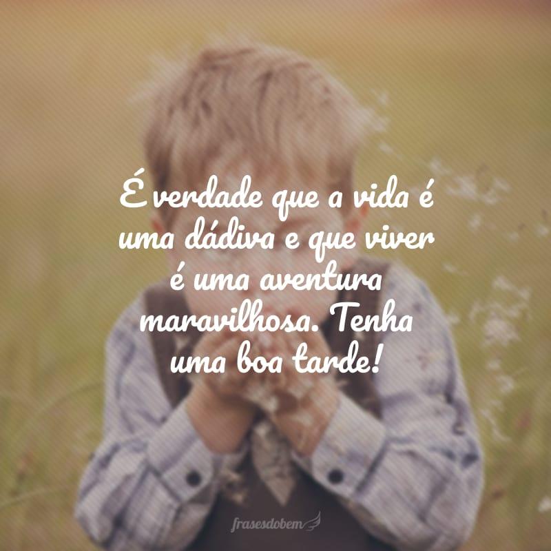 É verdade que a vida é uma dádiva e que viver é uma aventura maravilhosa. Tenha uma boa tarde!