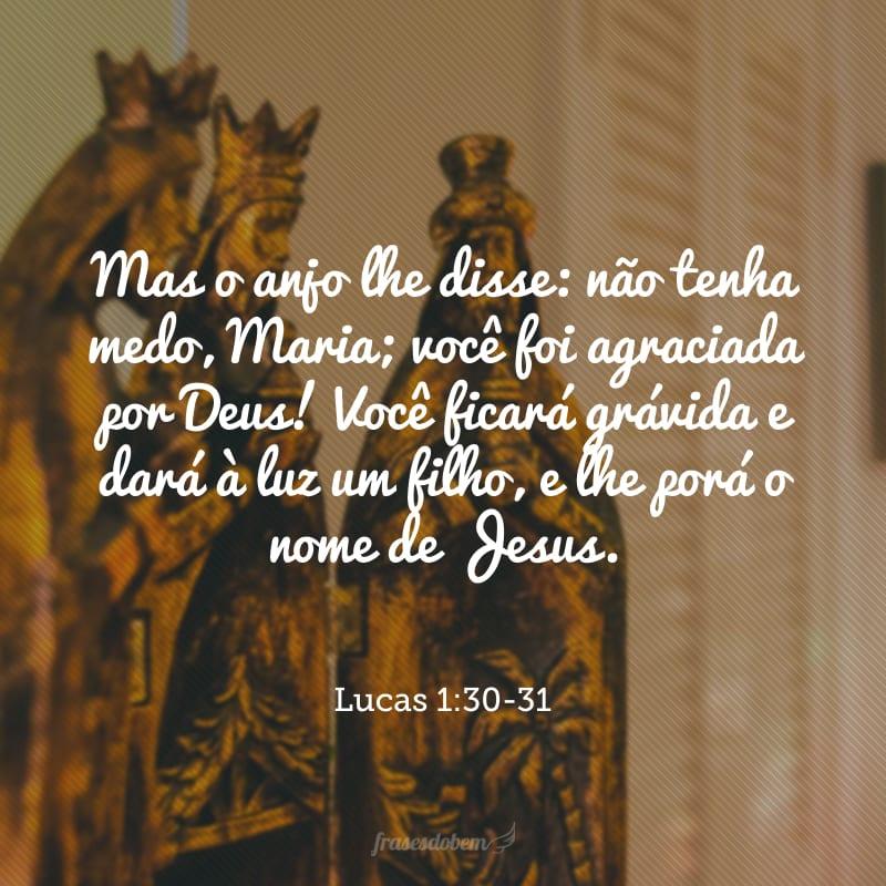 Mas o anjo lhe disse: não tenha medo, Maria; você foi agraciada por Deus! Você ficará grávida e dará à luz um filho, e lhe porá o nome de Jesus.