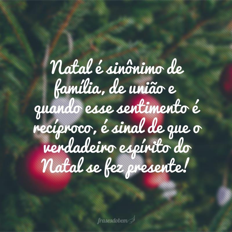 Natal é sinônimo de família, de união e quando esse sentimento é recíproco, é sinal de que o verdadeiro espírito do Natal se fez presente!
