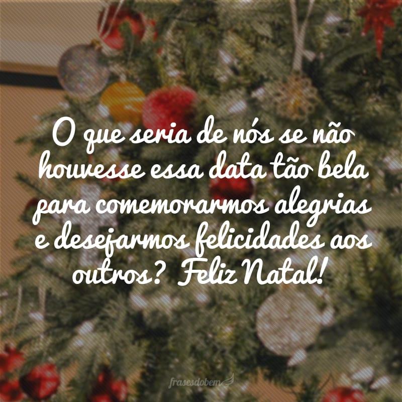 O que seria de nós se não houvesse essa data tão bela para comemorarmos alegrias e desejarmos felicidades aos outros? Feliz Natal!