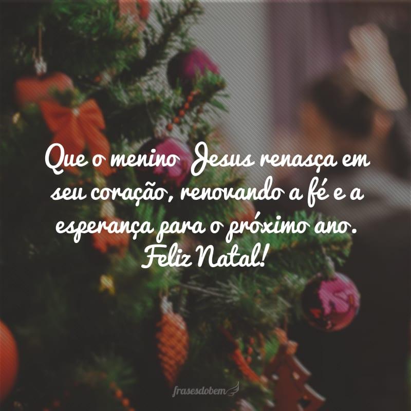 Que o menino Jesus renasça em seu coração, renovando a fé e a esperança para o próximo ano. Feliz Natal!