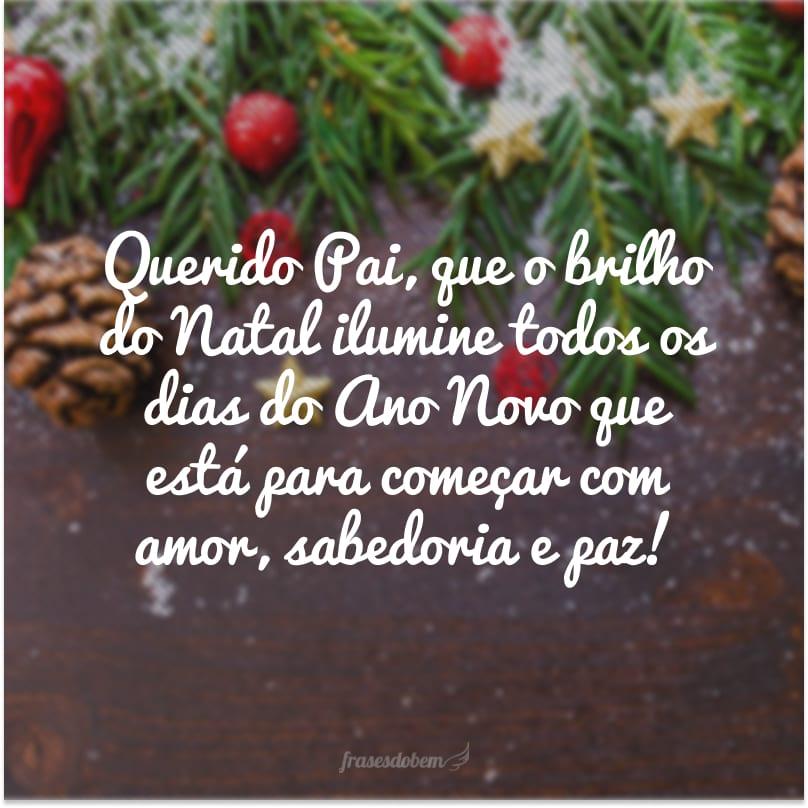 Querido Pai, que o brilho do Natal ilumine todos os dias do Ano Novo que está para começar com amor, sabedoria e paz!