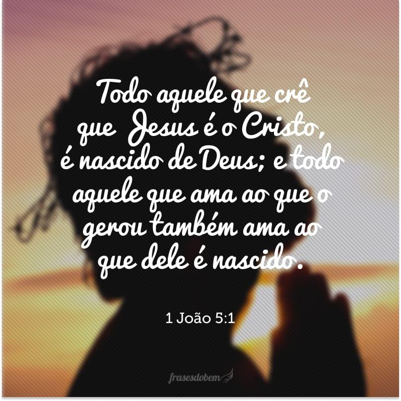 Todo aquele que crê que Jesus é o Cristo, é nascido de Deus; e todo aquele que ama ao que o gerou também ama ao que dele é nascido.