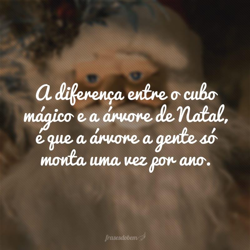 A diferença entre o cubo mágico e a árvore de Natal, é que a árvore a gente só monta uma vez por ano.