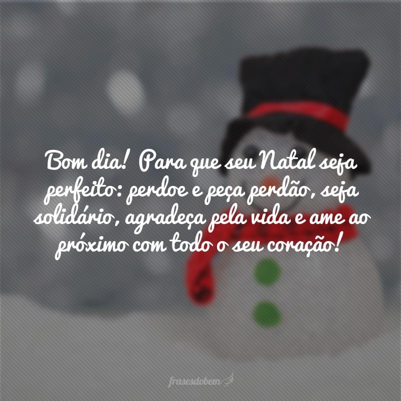 Bom dia! Para que seu Natal seja perfeito: perdoe e peça perdão, seja solidário, agradeça pela vida e ame ao próximo com todo o seu coração!