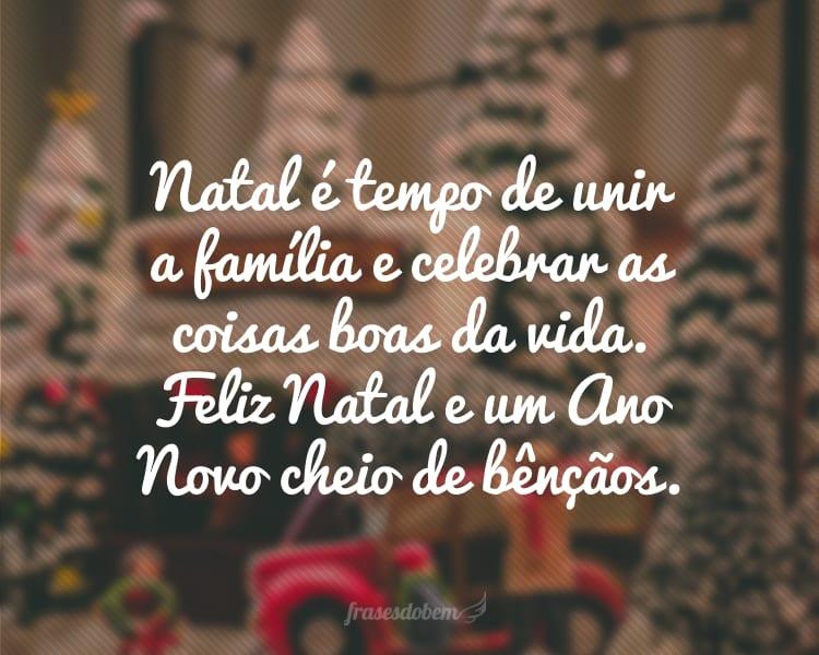 Natal é tempo de unir a família e celebrar as coisas boas da vida. Feliz Natal e um Ano Novo cheio de bênçãos.