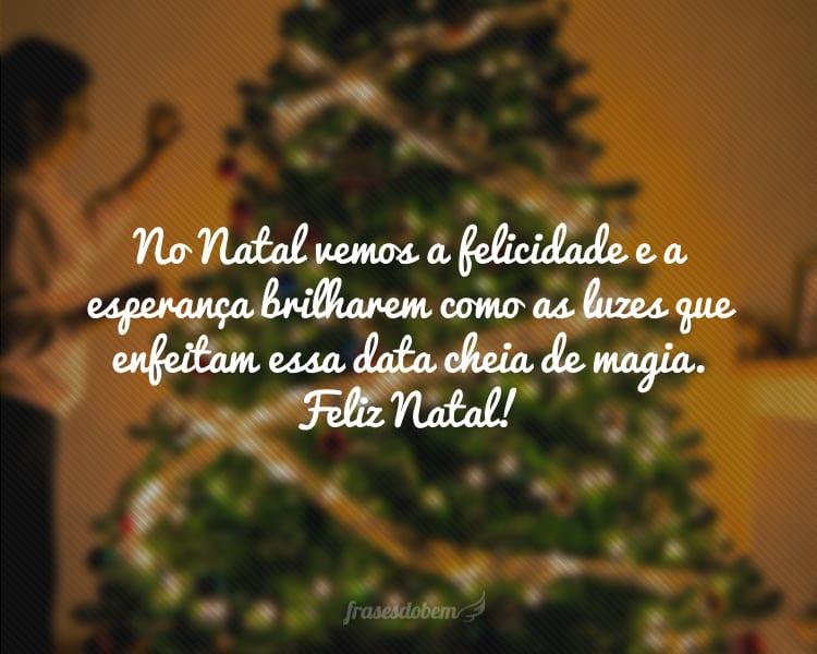 No Natal vemos a felicidade e a esperança brilharem como as luzes que enfeitam essa data cheia de magia. Feliz Natal!