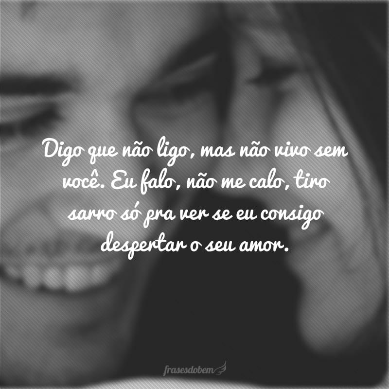 Digo que não ligo, mas não vivo sem você. Eu falo, não me calo, tiro sarro só pra ver se eu consigo despertar o seu amor.