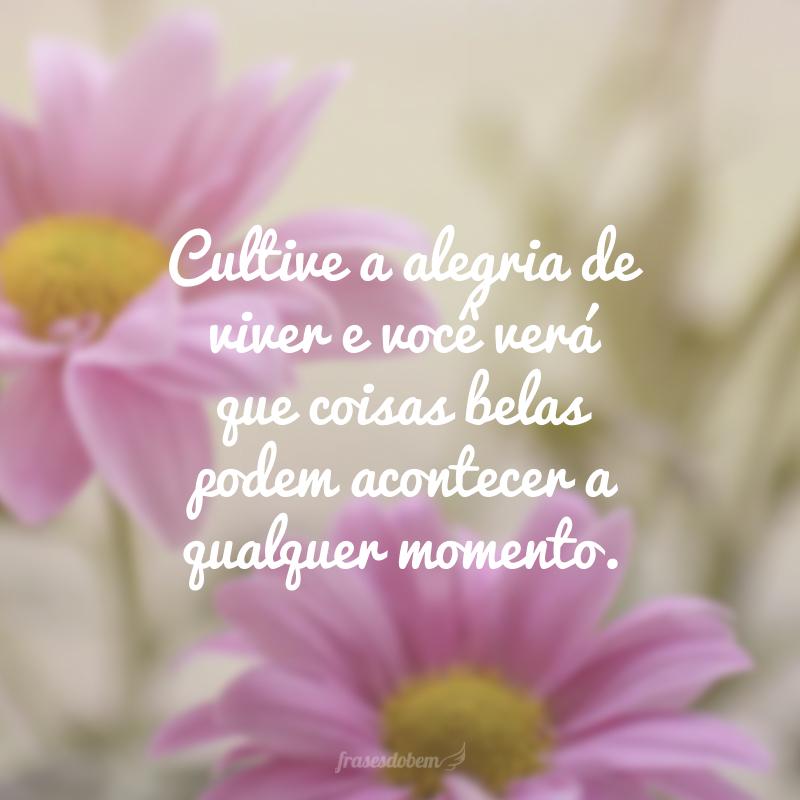Cultive a alegria de viver e você verá que coisas belas podem acontecer a qualquer momento.