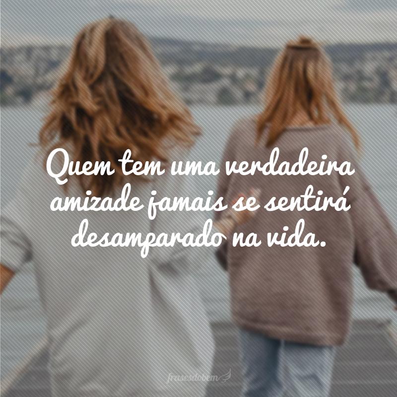 Quem tem uma verdadeira amizade jamais se sentirá desamparado na vida.