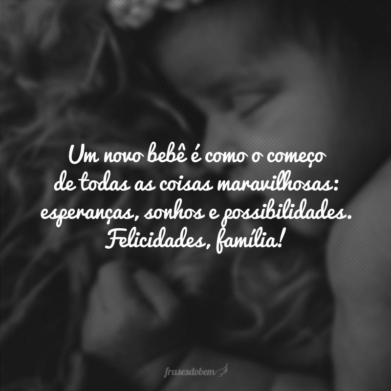 Um novo bebê é como o começo de todas as coisas maravilhosas: esperanças, sonhos e possibilidades. Felicidades, família!