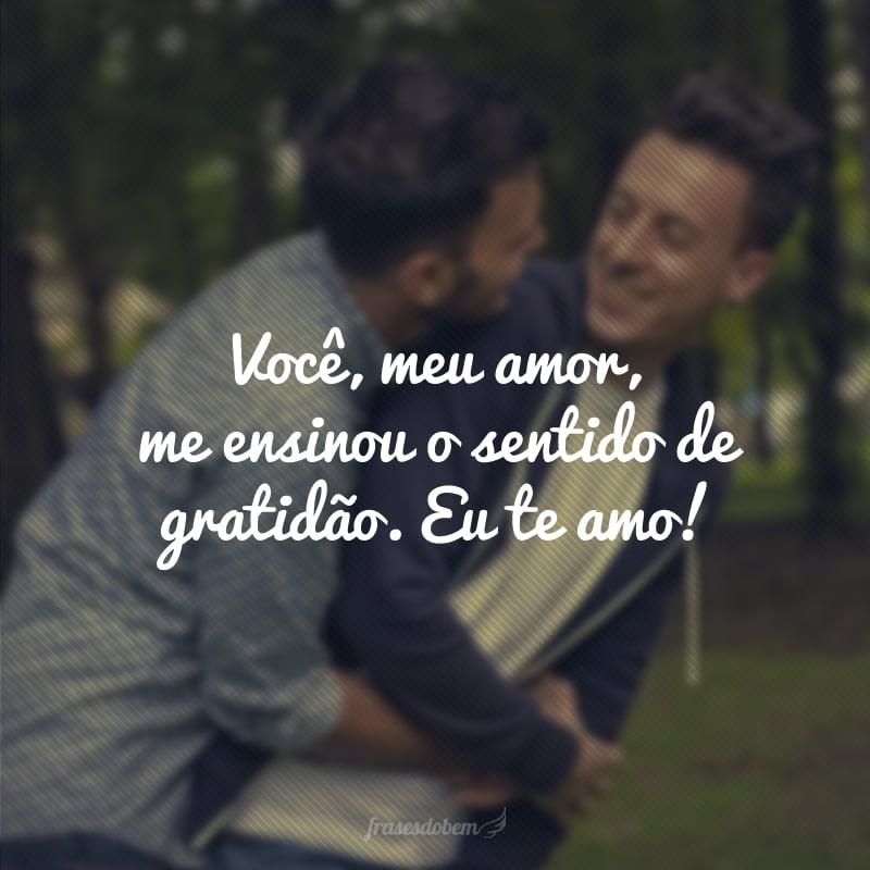 Você, meu amor, me ensinou o sentido de gratidão. Eu te amo!