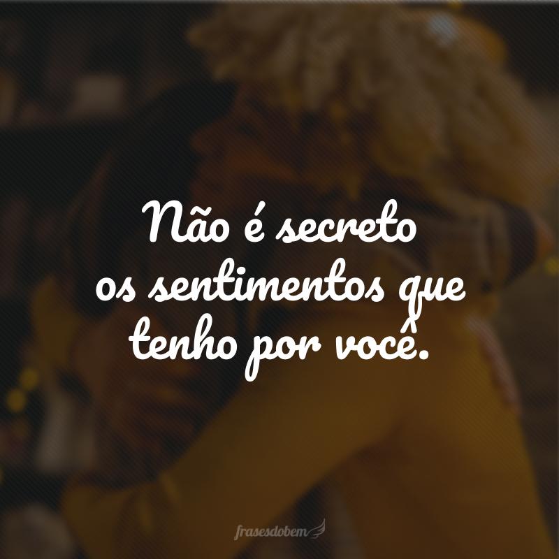Não é secreto os sentimentos que tenho por você.