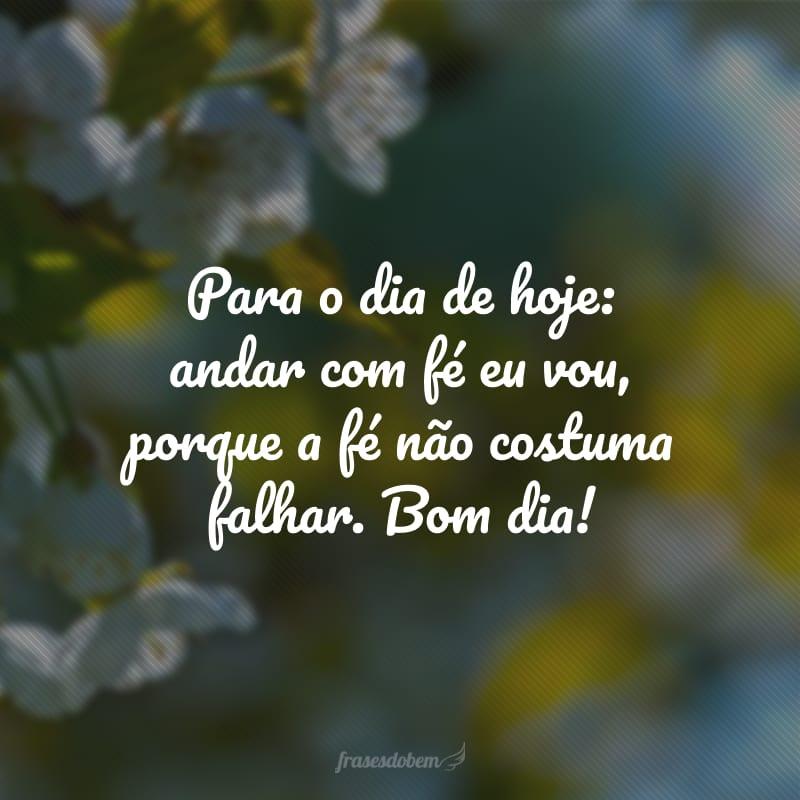 Para o dia de hoje: andar com fé eu vou, porque a fé não costuma falhar. Bom dia!