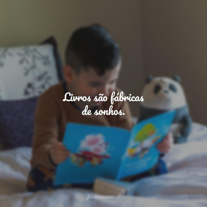 Livros são fábricas de sonhos.