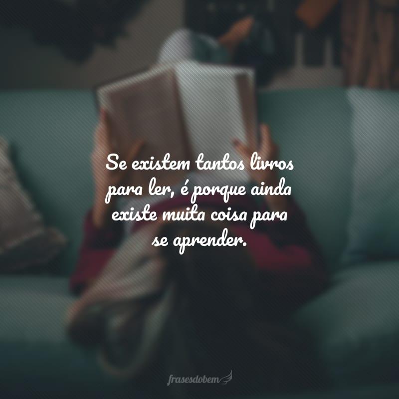 Se existem tantos livros para ler, é porque ainda existe muita coisa para se aprender.