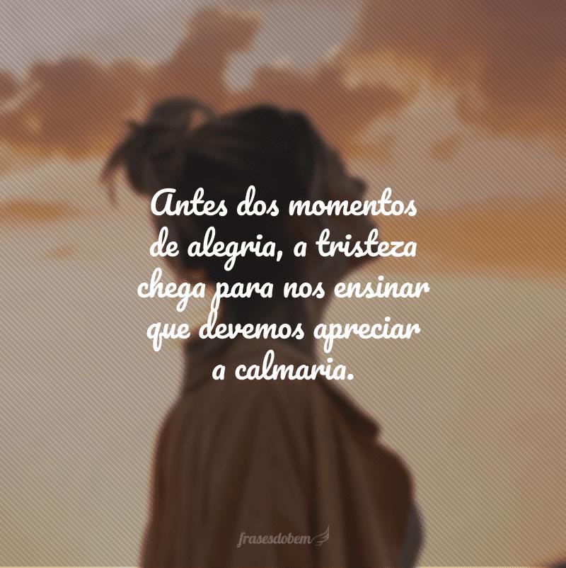 Antes dos momentos de alegria, a tristeza chega para nos ensinar que devemos apreciar a calmaria.