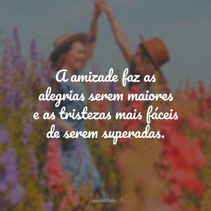 A amizade faz as alegrias serem maiores e as tristezas mais fáceis de serem superadas.